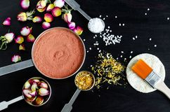 Small scoops with moroccan red clay, dry rose buds, marigold flowers and dead sea salt. Ingredients for preparing diy masks. Small scoops with moroccan red clay stock images
