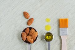 Small scoops with raw almonds, almond oil and cosmetic brush. Ingredients for preparing diy masks for natural skin and hair care. Homemade cosmetics concept royalty free stock images