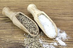 Small Scoops or Spoons With Fragrant Pepper And Iodized Salt Royalty Free Stock Photography