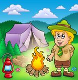 Small scout with fire and tent royalty free illustration