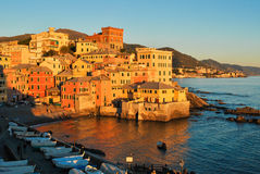 The small sea district of Boccadasse, in Genoa. During a winter sunset Stock Photography