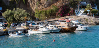 Small sea port of Aghia Galini at southern part of Crete island, Greece Stock Image