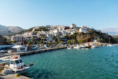 Small sea port of Aghia Galini at southern part of Crete island, Greece Royalty Free Stock Images
