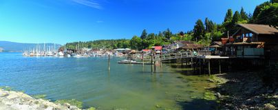 Cowichan Bay on Eastern Vancouver Island, British Columbia. The small seaside village of Cowichan Bay lies sheltered on the eastern shore of Vancouver Island Stock Images