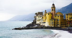 Small seaside village. A little town on the mediterranean sea royalty free stock photo