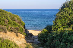 Small secluded beach in Sithonia, Chalkidiki, Greece Stock Photo