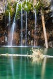 Small section of Bridal Veil Falls and pool of Hanging Lake Stock Image
