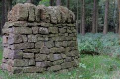 Dry stone wall. A small section of traditional Biritsh dry stone wall with copy space Stock Images