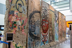 Small segment of the Berlin Wall. Berlin wall displayed in a museum Royalty Free Stock Photo