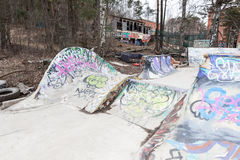 Small self-made skate park Stock Images