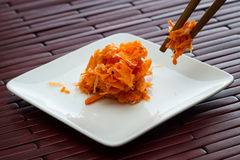 Small serving of fermented carrots Stock Photography