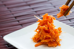Small serving of fermented carrots Royalty Free Stock Images