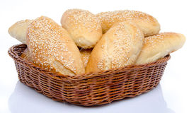 Small sesame breads in a basket Stock Photo