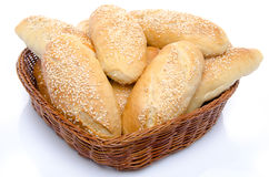 Small sesame breads in a basket Royalty Free Stock Photo