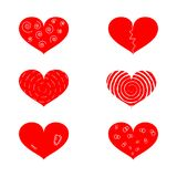 Set of red hearts with different textures Royalty Free Stock Image