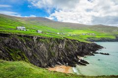 Seaside Village of Clogher. The small settlement of Clogher sits above the cliffs along the coast on the Dingle Peninsula, Ireland Stock Photo