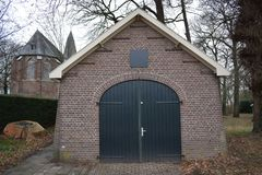 Small shed that belongs to a church royalty free stock photography