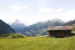 Small shed Hohe Tauern Park, Austria. Small shed in National Park Hohe Tauern in Carinthia against the background of the Glockner mountains, the highest Stock Photography