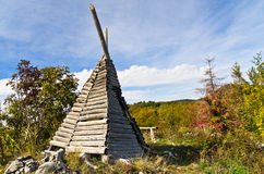 Small shepherd's hut on mount Bobija, like a tent but made of wood Royalty Free Stock Image