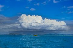 Weather changing in Tropes, Coumulonimbus Clouds over Pacific Ocean, South Sea Stock Photos