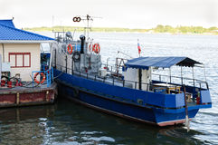 Small ship next moorage. Small blue ship next moorage in Rostov on Don, Russia Stock Photography