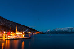Small ship pier near Sjursnes village, Norway Royalty Free Stock Image