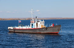 Small ship on river Volga. Near Samara, Russia Royalty Free Stock Photography