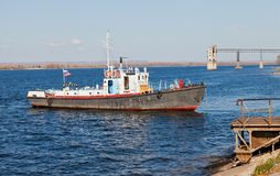 Small ship on river Volga Stock Photography