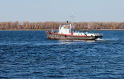 Small ship on river Volga Royalty Free Stock Image