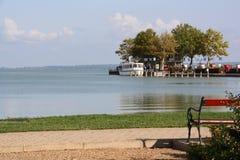 View of lake Balaton from the shore royalty free stock photos