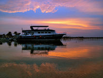 A small ship at sunset in Hurghada Royalty Free Stock Images