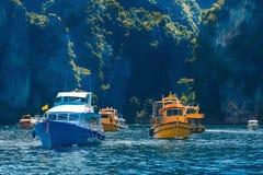 Small ships at the sea Royalty Free Stock Photos