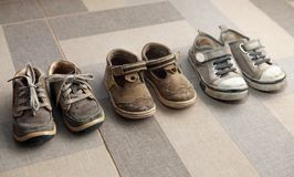 Small shoes on floor Royalty Free Stock Photo