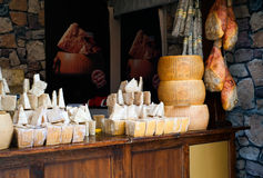 Small shop with cheese  and  meat products Royalty Free Stock Photography