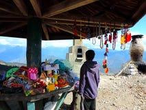 Small shop on Chele La Pass on Dantak Road royalty free stock photos
