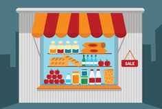 Small shop with open shelves with goods. Vector illustration Royalty Free Stock Photo