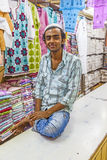 Small shop owner indian man selling Royalty Free Stock Images
