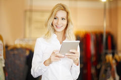 Small shop owner woman Royalty Free Stock Image