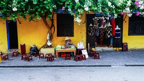 Yellow town. A small shop on the street at Hoian, the ancient town of Vietnam Stock Photos