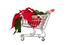 Small shopping cart with christmas flower poinsettia and a decoration ball Royalty Free Stock Image