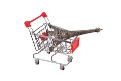 Small shopping cart isolated on white Royalty Free Stock Photos
