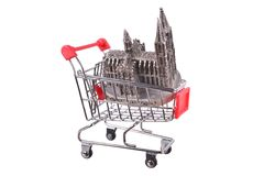 Small shopping cart isolated on white Stock Photography