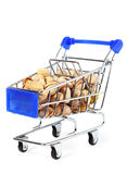 Small shopping cart with pistachios Stock Photography