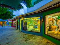 Small shops. Colorful shops the night at tourist center - Porto de Galinhas beach - Recife - Northeast of Brazil stock photos