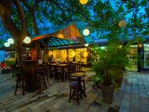 Small shops. Colorful shops the night at tourist center - Porto de Galinhas beach - Recife - Northeast of Brazil stock photo
