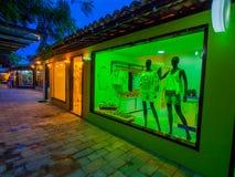Small shops. Colorful shops the night at tourist center - Porto de Galinhas beach - Recife - Northeast of Brazil royalty free stock image