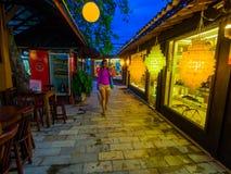Small shops. Colorful shops the night at tourist center - Porto de Galinhas beach - Recife - Northeast of Brazil stock photography