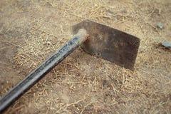 Small shovel for gardening on soil background Stock Photos
