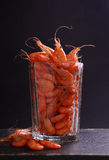 Small shrimp (crustaceans) in a glass Royalty Free Stock Photography