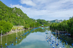 Small shrimp farm and fishing village in Khao Sam Roi Yot Stock Photos